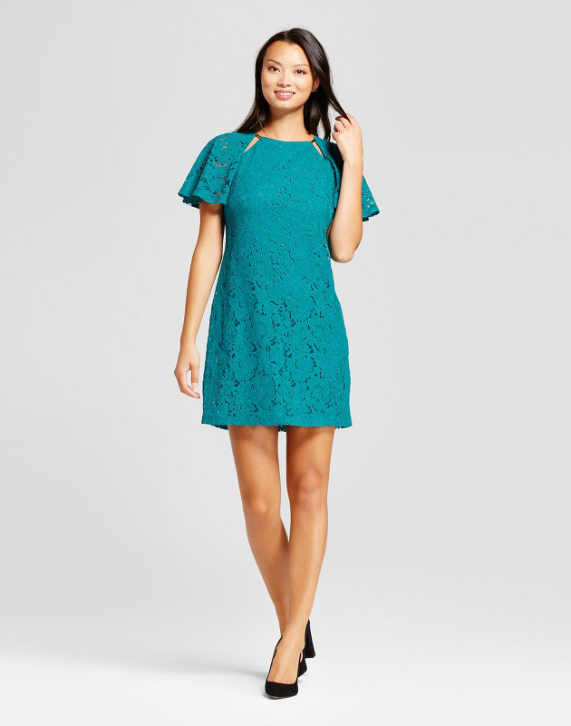 photo Corded Lace Short Sleeve Dress with Cutouts by Melonie T, color Teal - Image 1