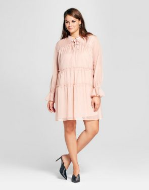 photo Plus Size Tied Neck Mini Dress by Who What Wear, color Pink - Image 1