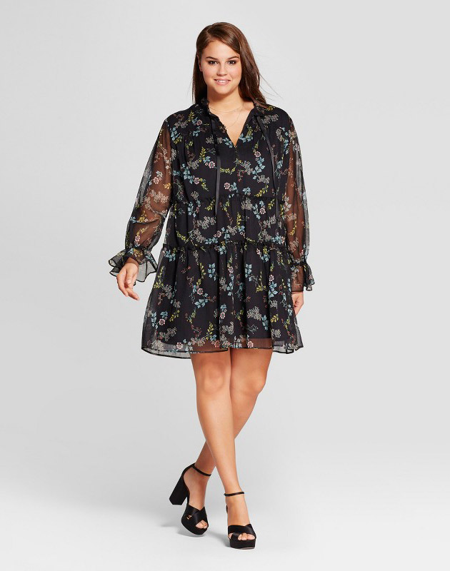 photo Plus Size Tied Neck Mini Dress by Who What Wear, color Black Floral - Image 1