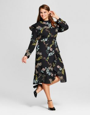 photo Plus Size Ruffle Slit Dress by Who What Wear, color Black Floral - Image 1