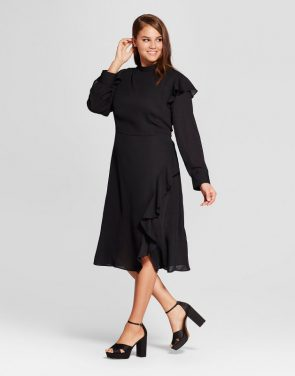 photo Plus Size Ruffle Slit Dress by Who What Wear, color Black - Image 1