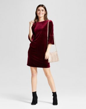 photo Velvet Ruffle Sleeve Shift Dress by Alison Andrews, color Burgundy - Image 1