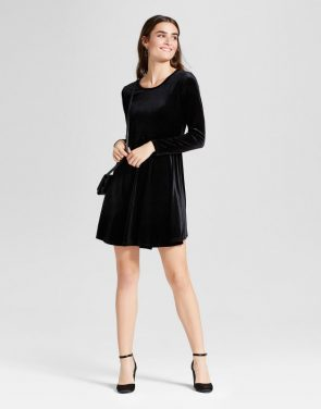 photo Velvet Scoop Neck Fit & Flare Dress by Alison Andrews, color Black - Image 1