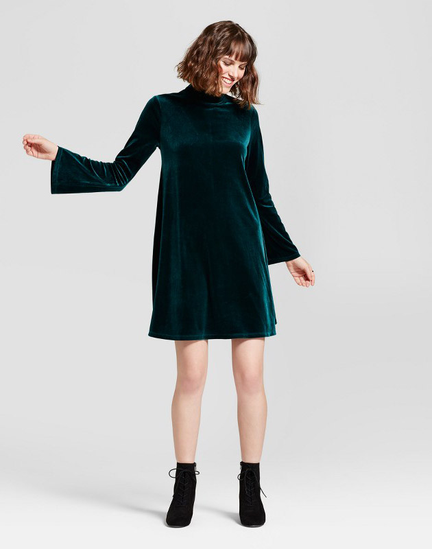 photo Velvet Mock Neck Swing Dress by Alison Andrews, color Green - Image 1
