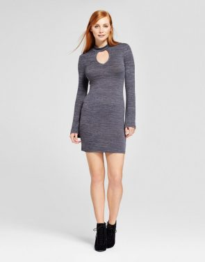 photo Long Sleeve Choker Dress by nitrogen, color Grey - Image 1