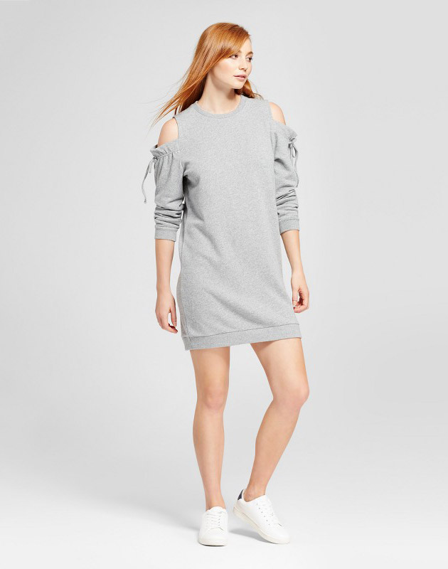 photo Cold Shoulder Ruffle Tie Sweater Dress by nitrogen, color Grey - Image 1