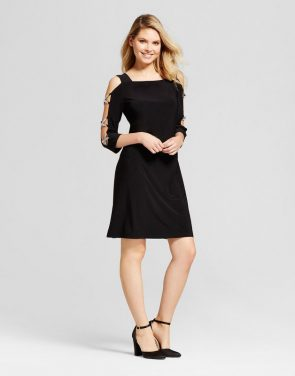 photo Rhinestone Sleeve Knit Shift Dress by Chiasso, color Black - Image 1
