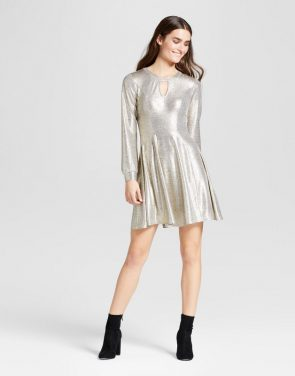 photo Foil Sparkle Keyhole A-Line Dress by Eclair, color Gold - Image 1