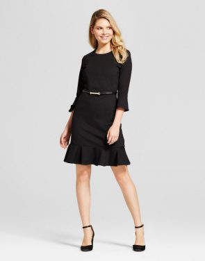 photo Long Sleeve Belted Crepe Dress by Zac & Rachel, color Black - Image 1