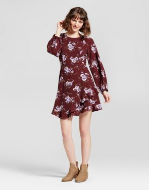 photo Floral Ruffle A-Line Dress by Eclair, color Burgundy - Image 1