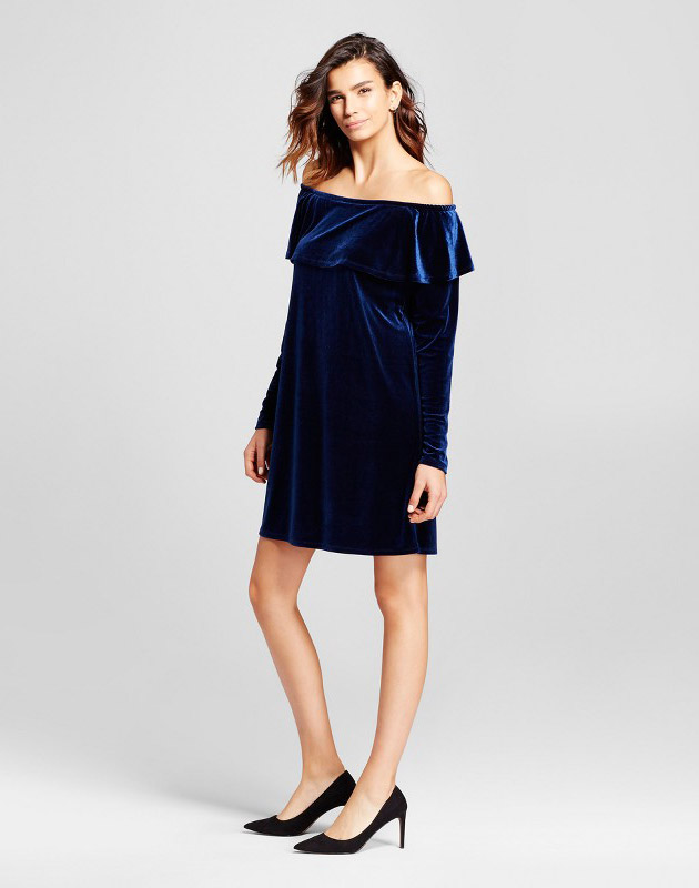 photo Velvet Off the Shoulder Ruffle Dress by Alison Andrews, color Navy - Image 1