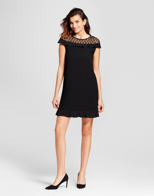 photo Lace Yoke Pleated Ruffle Trim Dress by Alison Andrews, color Black - Image 1