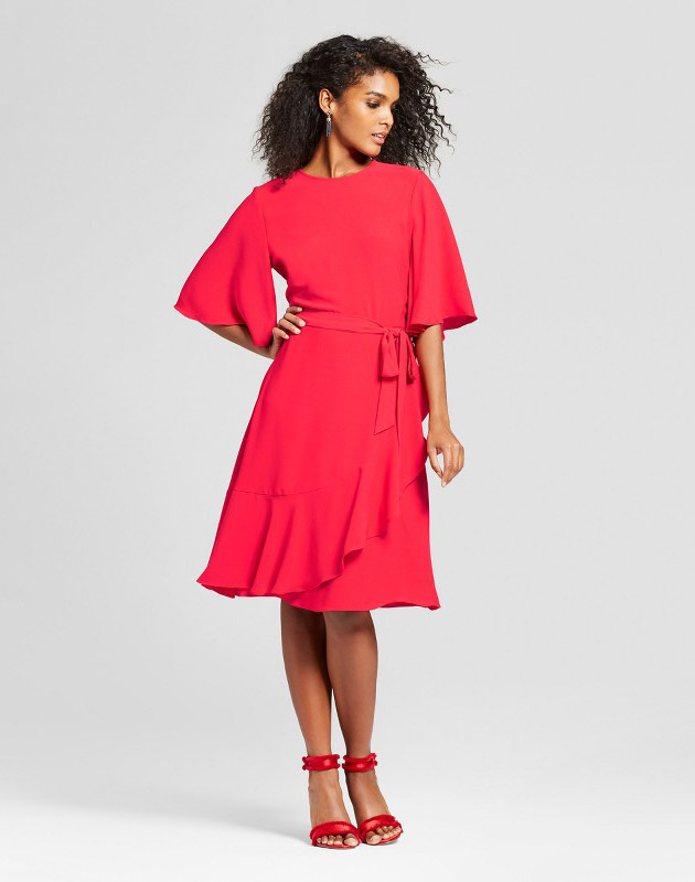 photo Ruffle Wrap Dress by Who What Wear, color Red - Image 1