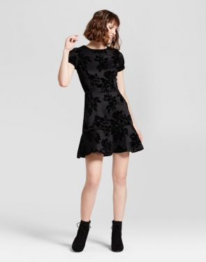 photo Embossed Velvet Dress by Necessary Objects, color Black - Image 1