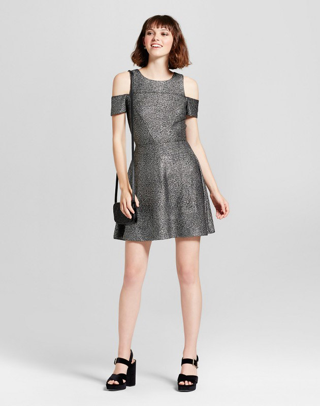 photo Lurex Shine Cold Shoulder Party Dress by Necessary Objects, color Silver - Image 1