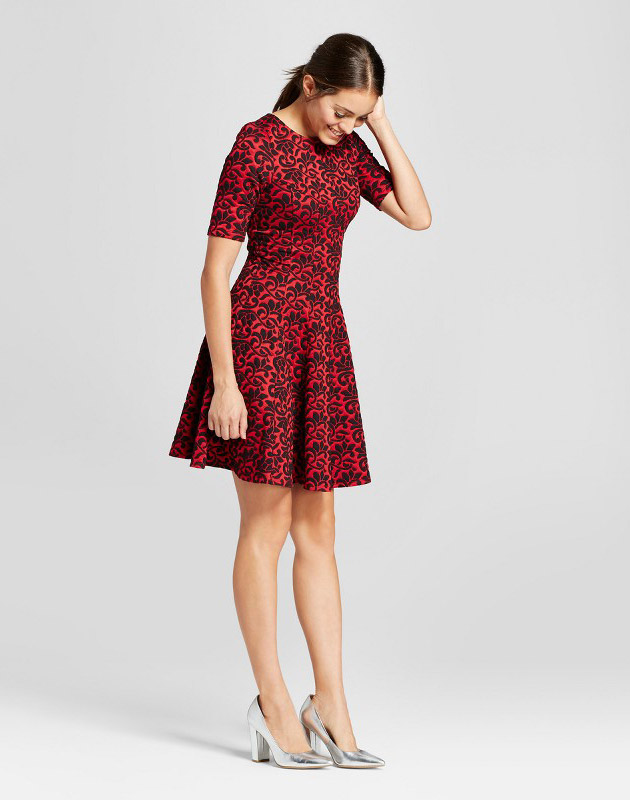 photo Puff Jacquard Fit and Flare Dress by Melonie T, color Red/Black - Image 1