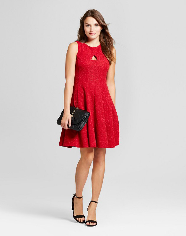 photo Textured Sequin Knit Fit and Flare Dress with Cutout by Melonie T, color Red - Image 1