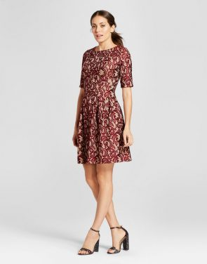 photo Elbowsleeve Contrast Lace Fit and Flare Dress by Melonie T, color Red - Image 1