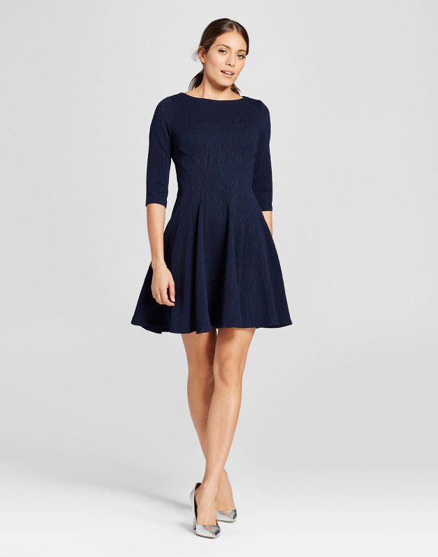 photo Elbowsleeve Jacquard Sweater Dress by Melonie T, color Blue - Image 1