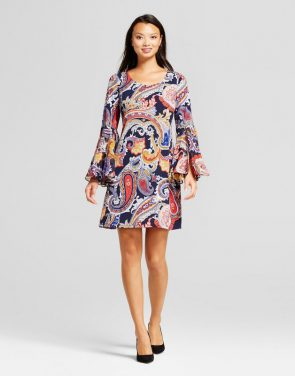 photo Paisley Shift Dress with Woven Trumpet Sleeve by Chiasso, color Multi - Image 1