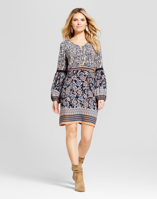 photo Mix Printed Dress with Crochet Sleeve Detail by Chiasso, color Blue Combo - Image 1