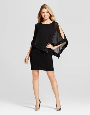 photo Sequin and Chiffon Overlay Knit Dress by Chiasso, color Black - Image 1