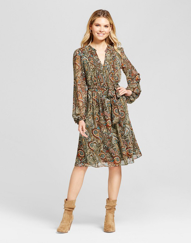photo Printed Pintuck Shirt Dress with Chiffon Sleeve by Chiasso, color Olive/Blue - Image 1