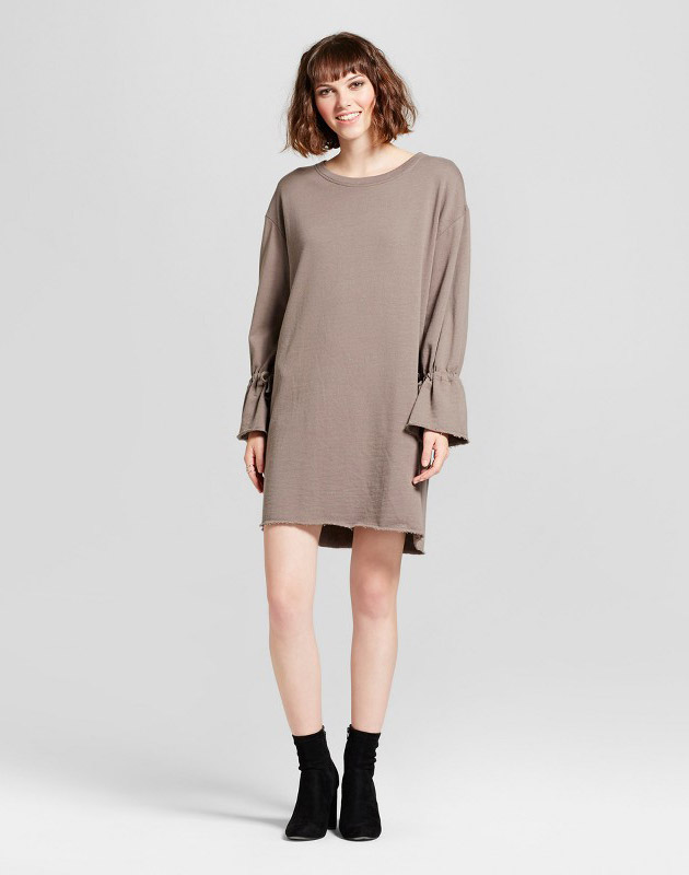 photo Tie Sleeve Sweater Dress by nitrogen, color Brown - Image 1