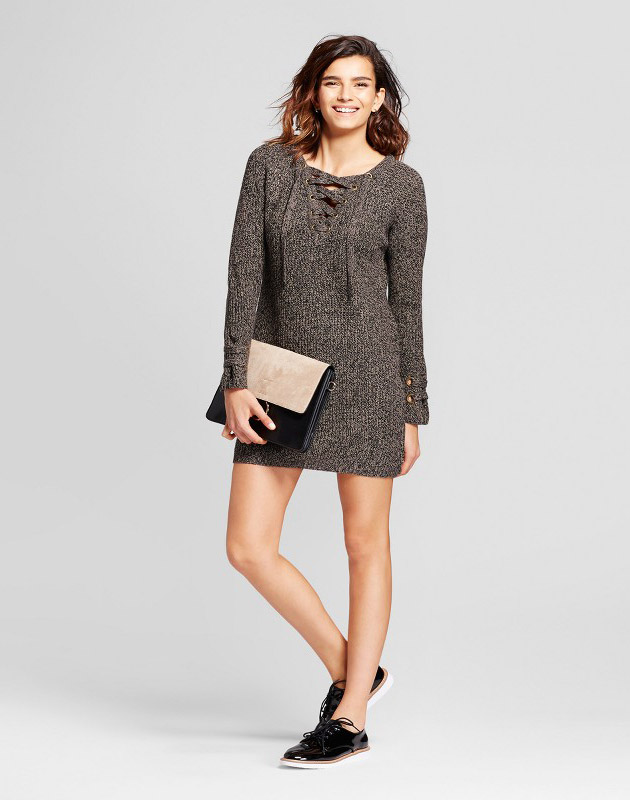 photo Lace-Up Sweater Dress by nitrogen, color Brown - Image 1
