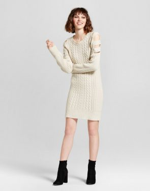photo Cage Shoulder Cable Sweater Dress by nitrogen, color White - Image 1