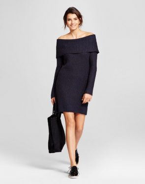 photo Off the Shoulder Marilyn Sweater Dress by nitrogen, color Navy - Image 1