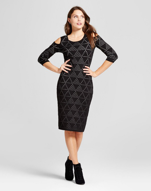 photo Cold Shoulder Printed Sweater Dress by Melonie T, color Black - Image 1