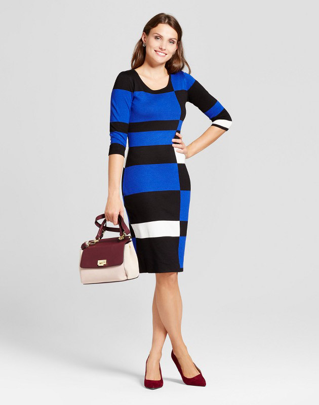 photo Color Blocked Sheath Sweater Dress by Melonie T, color Blue/Black - Image 1