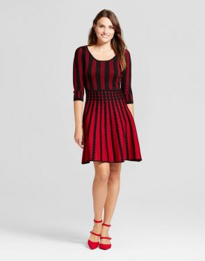 photo Striped Fit and Flare Sweater Dress by Melonie T, color Black/Red - Image 1