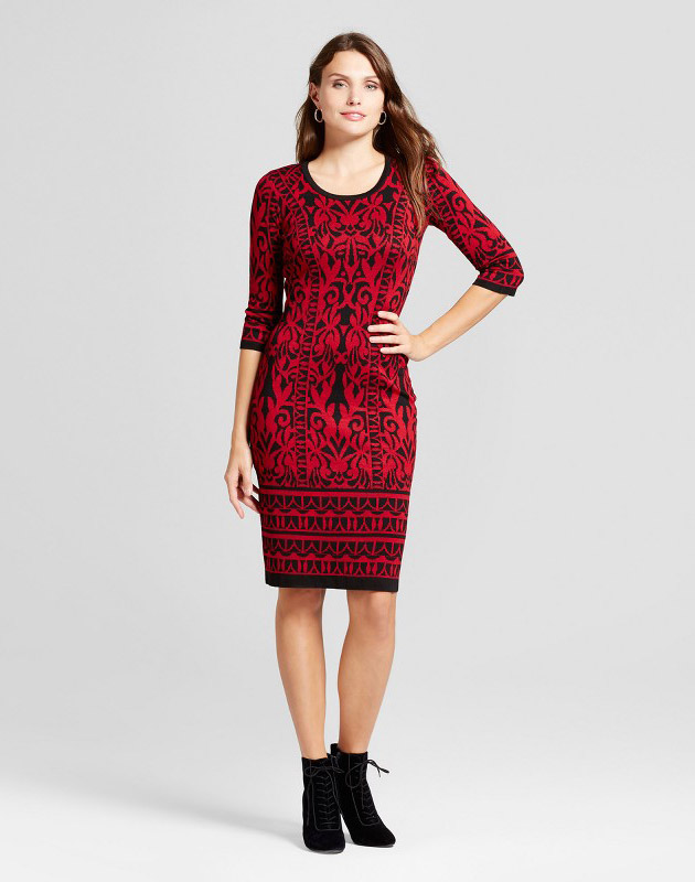 photo Scroll Printed Sheath Sweater Dress by Melonie T, color Red/Black - Image 1