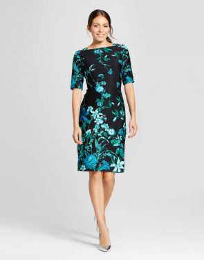 photo Floral Printed Midi Scuba Dress by Melonie T, color Black/Emerald, Green - Image 1