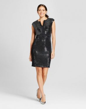 photo Sequin Extended Shoulder V-Neck Sheath Dress by Melonie T, color Black/Silver - Image 1