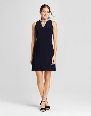photo Knit Tank Dress with Jewel Collar Neck Detail by Chiasso, color Dark Blue - Image 1