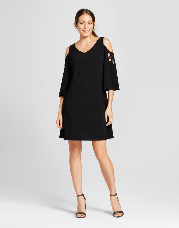 photo Lattice Sleeve Cold Shoulder Knit Shift Dress by Chiasso, color Black - Image 1
