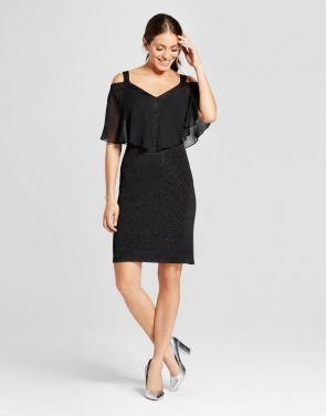 photo Glitter Knit Cold Shoulder Dress with Chiffon Overlay by Chiasso, color Black - Image 1