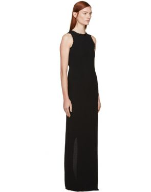 photo Black Fringed Crepe Long Dress by Nina Ricci - Image 2