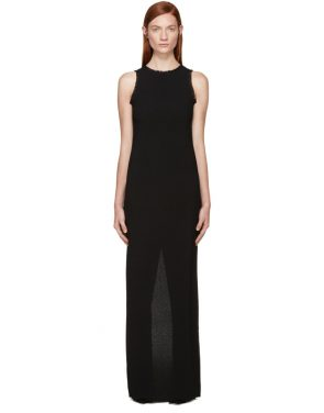 photo Black Fringed Crepe Long Dress by Nina Ricci - Image 1