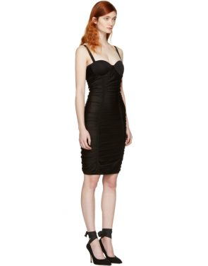photo Black Ruched Mesh Dress by Balmain - Image 2