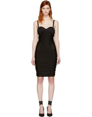 photo Black Ruched Mesh Dress by Balmain - Image 1