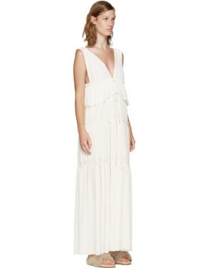 photo Off-White Long Gauze Jersey Dress by See by Chloe - Image 2