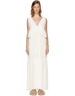 photo Off-White Long Gauze Jersey Dress by See by Chloe - Image 1