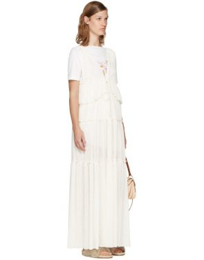 photo Off-White Long Gauze Jersey Dress by See by Chloe - Image 4