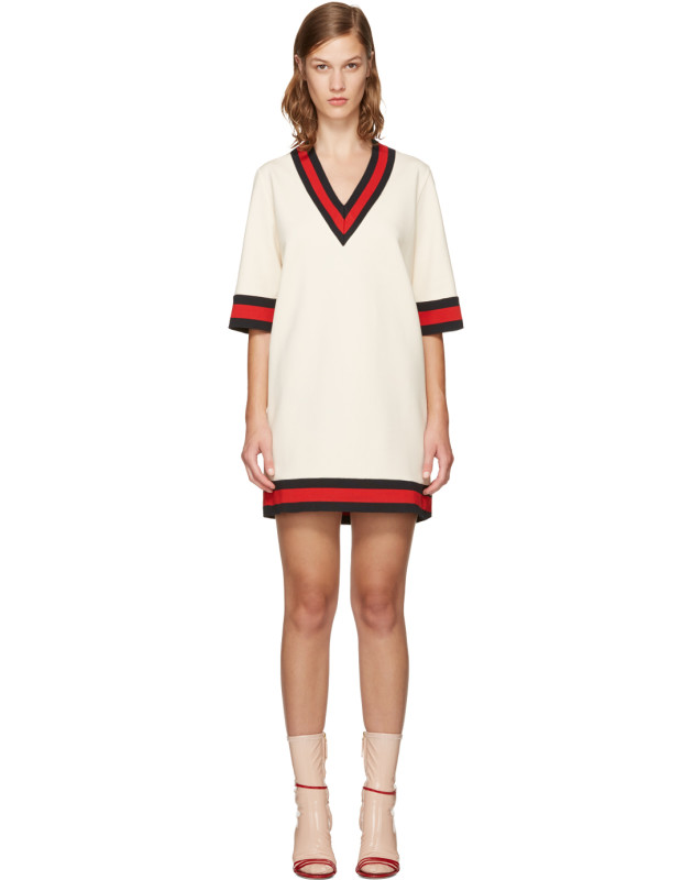 photo Ivory Web Stripe Dress by Gucci - Image 1