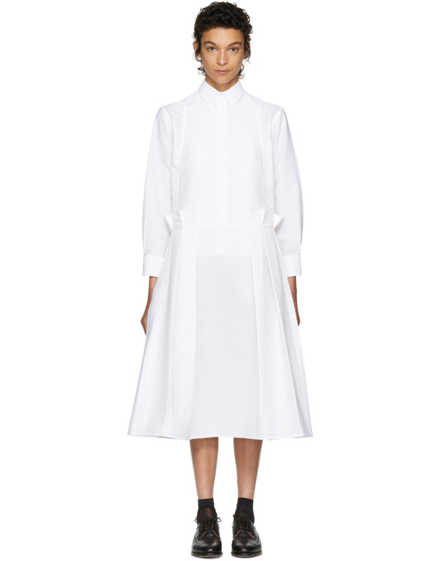 photo White Pleated Apron Dress by Roberts | Wood - Image 1
