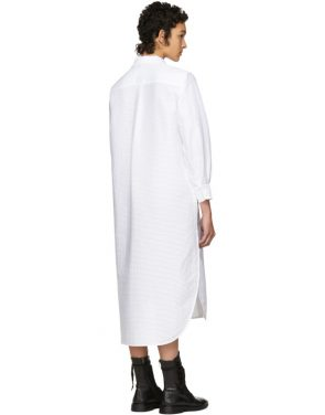 photo White Pleated Bow Shirt Dress by Roberts | Wood - Image 3